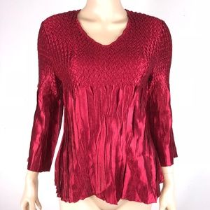 Cato Shiny Red Weave Top M Holidays